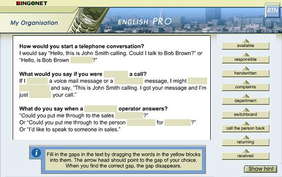 English Pro İnteraktif CD-ROM'umuzdan bir ekran görüntüsü