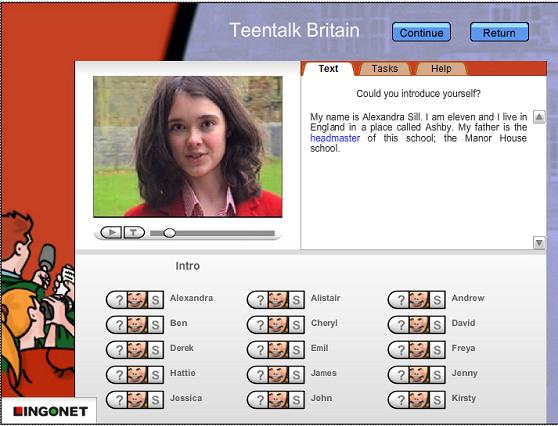Teentalk British İnteraktif CD-ROM'umuzdan bir ekran görüntüsü